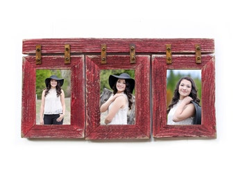 """2"""" Barnwood Collage Frame 3) 8x10 Multi Opening Frame-Rustic Picture Frames-Reclaimed-Cottage Chic-Collage Frame - Poppy  Wedding"""