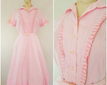Vintage 1950s Dress / 50s Pink and White Gingham Day Dress / Cotton Dress / Medium