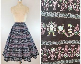 Vintage 1950s Skirt / Novelty Print Skirt / Full Skirt / Cotton Skirt / Asian Print / Border Print Skirt / XS