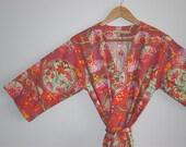 Kimono Robe. Kimono. Dressing Gown. Bridal Robes. Bridesmaid Robes. Modern Orient. Knee Length. Small thru Plus Size.