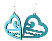 Ocean Hearts - Eco Friendly Wood Earrings