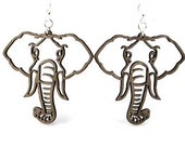 Elephant Earrings - Wood Earrings