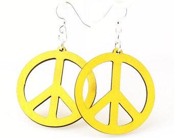 Peace Sign Earrings - Wooden