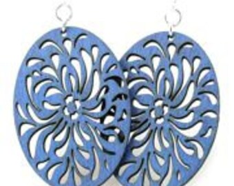 Intricate Droplets Pattern - Earrings laser Cut from Sustainable Wood Source