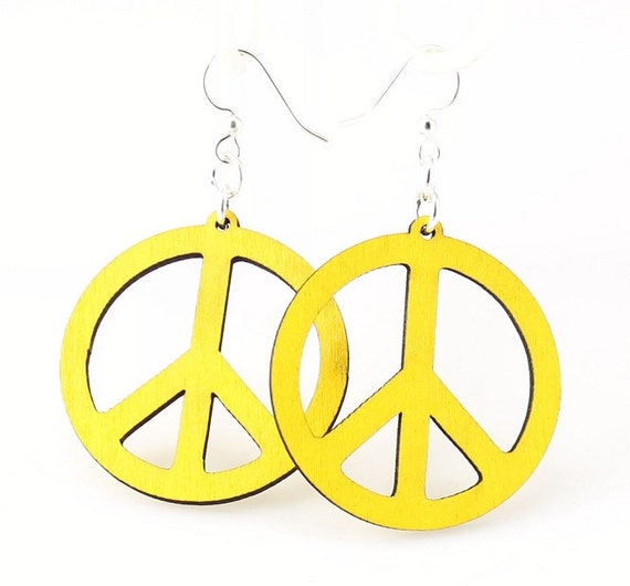 Peace Sign Earrings - Wooden