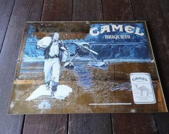 Vintage French Camel Mirror Advertising Sign Cafe Restaurant Tabac Cigarettes Smoking circa 1970-80's / English Shop
