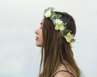 Bridal Flower Crown, Pastel, Floral Crown, Woodland Wedding, Floral Headpiece, Mint, Bohemian Wedding, Rustic, Bridal Headpiece, Fairy, Boho