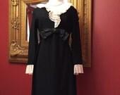 Vintage 60s Black White Short Party Dress S