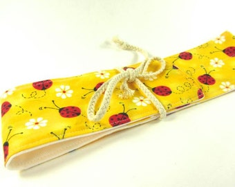 Double Straw Ladybug Straw Pouch, Glass Straw, and Cleaning Brush- Customize!- FREE Gift Wrap