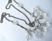 RESERVED for CARMEN........................Art Deco Necklace Clear Glass  Beads and Rhinestones 1920's 1930's