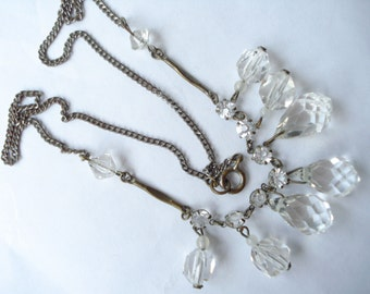Art Deco Necklace Clear Glass  Beads and Rhinestones 1920's 1930's