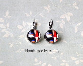 White, black, red and blue colorful abstract design silver colored base dangle glass cabochon earrings/ Wearable Photo Art
