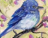 "Baby bluebird painting original art 5 x 5"""