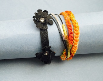Boho/Gypsy Bracelet, Summer Fashion, leather Floral, turkish design, Hand Made in The USA, Item No.LB 003