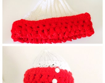 Red & White Hat, Unisex, Knit Beanie, Winter Wear, Hand Made In The U S A, tem no. BDE002