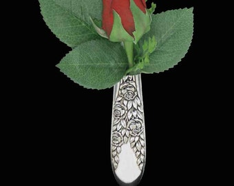 Vintage Rose and Leaf 1937 Tussie Mussie Boutonniere Flower Lapel Vase Pin Silverware jewelry