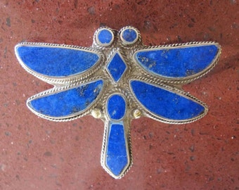 Vintage Southwestern Silver Blue Lapis-DRAGONFLY Brooch, Shawl Pin, Coat Pin, Lapel Pin