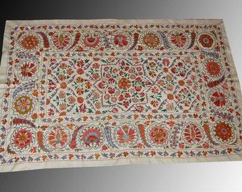 Uzbek silk handmade embroidery small blossoms pomegranate suzani