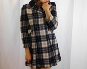 Vintage Double Breasted Wool Plaid Coat From England Size XS
