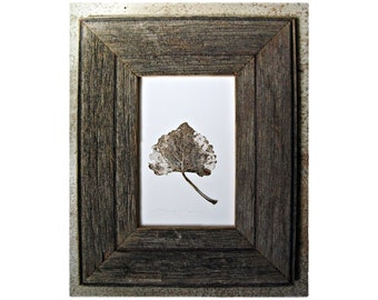 Menorah--- Aspen Leaf Framed in Weathered Frame