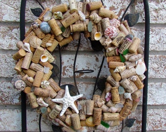 Seashell and Wine Cork Wreath