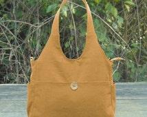 On Sale 10% off Yellow hand bag, cotton canvas shoulder bag, fabric messenger bag, diaper bag for moms
