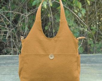 Yellow hand bag, cotton canvas shoulder bag, fabric messenger bag, diaper bag for moms