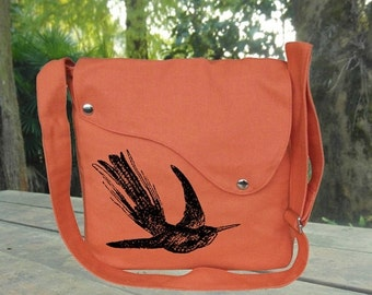 Holiday On Sale 10% off Personalized screeprinted cross body bag, orange cotton canvas messenger bag, shoulder bag