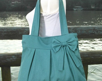 Teal green cotton canvas purse with bow / tote bag / shoulder bag / hand bag / diaper bag - zipper closure