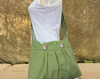 Grass green canvas messenger bag, shoulder bag, diaper bag, travel bag cross body bag with buttons, zipper closure