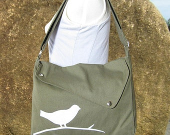 Olive green cotton canvas  shoulder bag / bird messenger /messenger bag / diaper bag / cross body bag