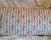 Vintage Ticking Pillow Cover DARLING pink and white with roses