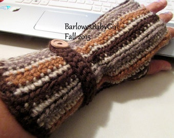 NEW - Crochet Striped Fingerless Gloves For Women in Shades of Brown - Pick Your Own Colors