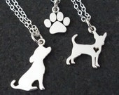 Dog Necklace Puppy Chihuahua Paw / Sterling Silver / Dog Paw Sweet Puppy Cute Animal Best Friend Charm Too Cute Pet Necklace Pooch Bow Wow
