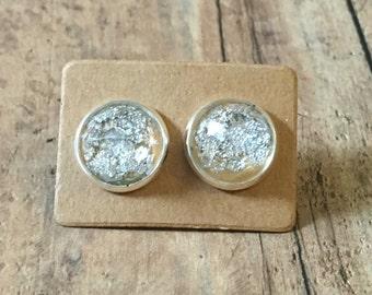 Gorgeous peach silver flake studs