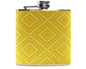 Yellow Flask with Squares, Personalized Gift for Women, Bridal Party Wedding Gift, Stainless Steel 6oz Hip Flask