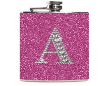 Personalized Purple Flask, Bling Initial Sparkle Glitter Womens Flask, Wedding Favor, 6oz Stainless Steel Hip Flask