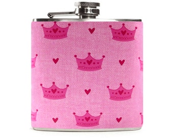 Pink Princess Flask for Women, Cute Flask, Girly Diva, Wedding Bridesmaids Gift, Stainless Steel 6oz Hip Flask