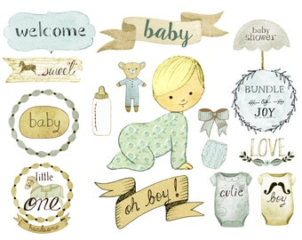 Baby boy clipart, nursery clipart, birth announcement, baby shower invites, baby shower printables
