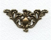 1 pc Heirloom Quality Ornate Oxidized Brass Filigree Focal or Corner Embellishment 49x15mm X17-VJS
