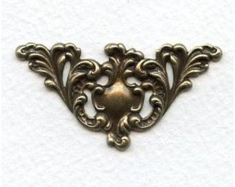 Oxidized Brass Filigree Focal or Corner Embellishment (1 pc) 49x15mm X17-VJS