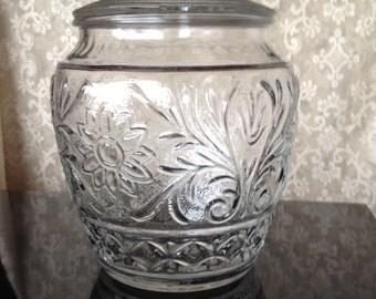 Large Ornate Glass Cookie Jar