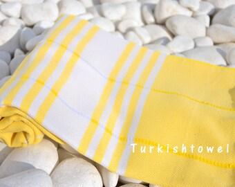 Turkishtowel-Soft-Hand woven,warp&weft cotton Bath,Beach,Travel,Light weight Towel-Point twill pattern,Natural cream stripes on yellow