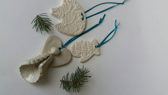 Pottery Ornament set of three with turquoise ribbon hangers in porcelain for trees or gifts polar bear angel mitten Canadiana