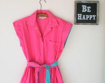 1980s PINK and TEAL Dress....fushia. pink. wiggle twirl dress. 1980s dress. short sleeved. cotton candy. summer dress. women. twiggy. glam