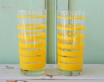 Vintage YELLOW GLASS Set of 2....mod. home. yellow. drink. coffee. tea. bright. 1970s. 1960s. kitsch. drinking, serving. vintage glassware