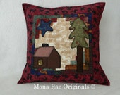 "Cabin Pillow ~ 18"" Hand Quilted Original Design Pillow ~ Cabin, Tree and Star Appliqued On A Log Cabin Background ~ Over 1,000 Hand Stitches"