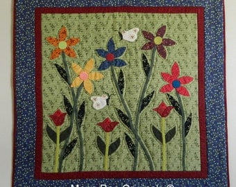 """Art Wall Hanging -  34"""" x 34"""" Daisies and Butterflies  Wall Quilt - Hand Applique & Quilting"""