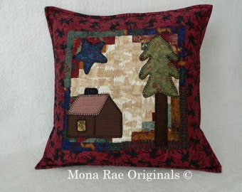 """Cabin Pillow ~ 18"""" Hand Quilted Original Design Pillow ~ Cabin, Tree and Star Appliqued On A Log Cabin Background ~ Over 1,000 Hand Stitches"""