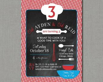 Cooking Up Fun | Chef / Cooking / Baking Birthday Party Invitation
